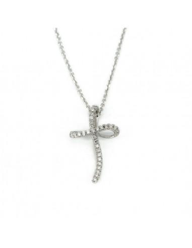 Oro Croce Collana Bianco E Diamanti In fIY7vm6ybg
